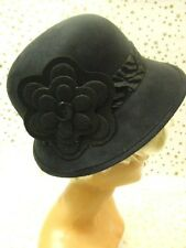Black 1920s Cloche Hat ~ Deluxe Ultra Suede  ~ Gatsby ~ Bonnie ~ Flapper