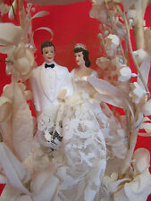 VINTAGE ANTIQUE WEDDING CAKE TOPPER * 1920s-1930s* FLORAL BELL BRIDE & GROOMM