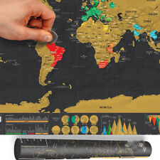 Black Vintage World Map Small Poster Personalized Travel Edition Scratch Off Map