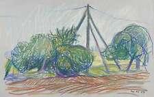 WERNER HASELHUHN - Feldrand und Telegrafenmast - Pastellkreide 1979