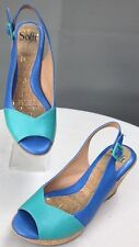 Soffit Ordelia Cork Wedges Slingback Sandals 7M Aqua/ French Blue Color Block