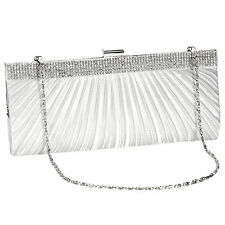 White Satin Crystal Diamante Design Wedding Evening Clutch Bag Prom Bridal Purse