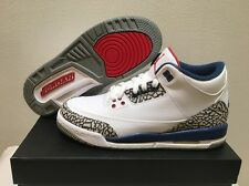 NIKE AIR JORDAN 3 III RETRO OG GS TRUE BLUE 2016 White/Red 854261 106 Size 7