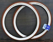 "26""x2.35 Red Brown FF Cream Whitewall Cruiser Bicycle Tires Vintage Schwinn Bike"