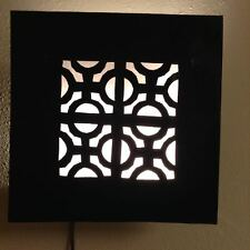 Moroccan Rustic Black  Wrought Iron Tin Wall Light Sconce Square