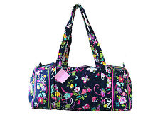 Vera Bradley Small Duffel in Ribbons with Solid Pink Interior - NWT