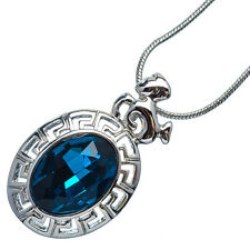 4.76 Ct Oval Cut Topaz 18K White Gold Plated 12 Horoscope Capricorn Pendant