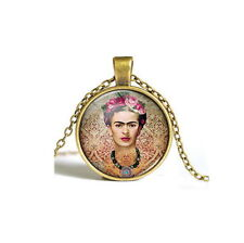 Vintage Frida Kahlo Cabochon bronze Glass Chain Pendant Necklace USA Shipper New