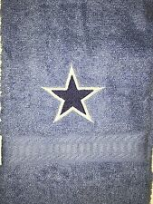Embroidered Blue Hand Towel & Wash Cloth Set- BLUE STAR EMBLEM-  football
