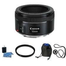 Canon EF 50mm f/1.8 STM Lens + UV Filter + Cleaning Kit w/ Lens Pouch + MORE