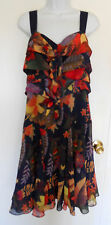 Ted Baker London navy blue floral layered tie front sleeveless dress flounce 10