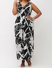 LANE BRYANT BLACK WHITE SLEEVELESS SIMPLY CHIC DRAPED MAXI DRESS PLUS Sz 22/24