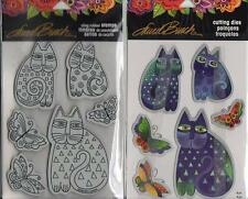 New Stampendous DIE & Rubber STAMP Set LAUREL BURCH INDIGO CATS free usa ship