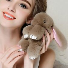 Rex Rabbit Fur Cute Bunny Pom Ball Doll Charm Handbag Pendant Toy Keychain 14cm