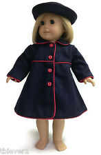 "Navy Wool Coat & Rolled Brim Hat made for 18"" American Girl Doll Clothes"
