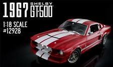 GREENLIGHT 1967 SHELBY GT500 RED / WHITE STRIPES DIECAST MODEL CAR 1:18 12928