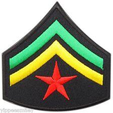 Army Corporal Star Stripes Military Rasta Rastafari Reggae Iron-On Patches #0571