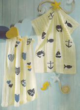 KNITTING PATTERN - 2 DK BABY BLANKETS WITH NAUTICAL OR HEART MOTIFS ONE SIZE