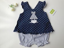 Baby Girl Navy Blue White Sailboat Sun Top + Striped Bloomers Size 000 Fits 3m