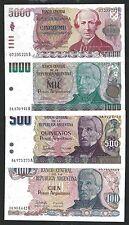 Argentina 100 to 5000 PESOS Serie 1984 UNC SET 4 NOTES