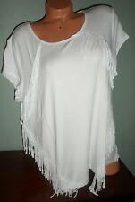 NWT $65 CHICO'S ZENERGY 3 L/XL MELANIE FRINGE SS OPTIC WHITE MODAL SPANDEX TOP