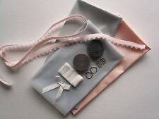 Bralette Making Kit - Inc Fabric and Notions. Pink & Silver Satin. Sewing Craft