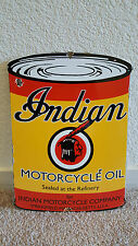 """VINTAGE INDIAN MOTORCYCLE REFINERY OIL """"CAN SHAPED"""" PORCELAIN GAS SIGN MASS USA"""