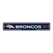 """New Denver Broncos AVE Street Sign 24"""" x 4"""" Styrene Plastic Made in USA"""