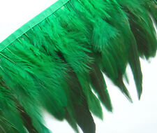 F275 PER 30cm- Green Rooster Long Hackle feather fringe Trim Fascinator Material