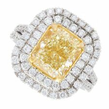 18K 2Tone Fancy Yellow 4.00ct Radiant Cut Certified Diamond Engagement Ring
