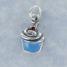 Blue Enamel Cupcake Charm Sterling Silver for Bracelet Frosting Cherry Birthday