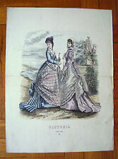 ANTICA STAMPA FIGURINO MODA 1875 - old print dress 1875