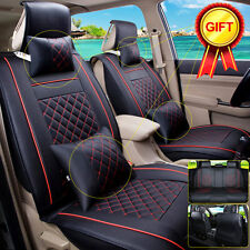 5-Seats Car Auto Seat Cover Cushion PU Leather Front + Rear Size M Black/Red 7PC