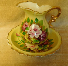 Lovely Vintage  Porcelain Hand Painted Small Floral Pitcher and Bowl - Japan -