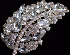 GOLD CLEAR RHINESTONE THANKSGIVING FALL AUTUMN LEAF LEAVES PIN BROOCH JEWELRY 4""