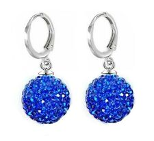 925 Sterling Silver Birthstone Shamballa Disco Ball Hoop Leverback Drop Earrings