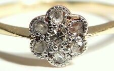 Antique Art Deco Platinum small diamond daisy 18ct gold ring
