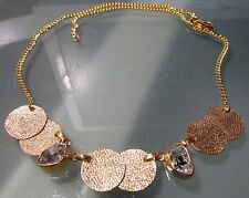Gold plated brass Herkimer diamond quartz stone 18 inch necklace