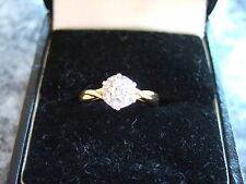 STUNNING 18CT YELLOW GOLD DIAMOND CLUSTER RING SIZE K/L HALLMARKED