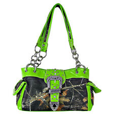 GREEN MOSSY CAMO RHINESTONE BUCKLE SHOULDER HANDBAG BLING PURSE FASHION COUNTRY