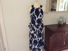 Beautiful ladies Joanna Hope fully lined sheer navy and white dress size 12