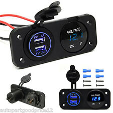 DC12V Car Boat Multi Function Panel Digital Voltmeter & Dual USB Charger Socket