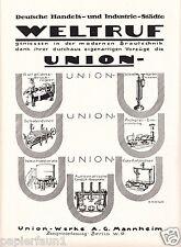 Cervecera Unión obras Mannheim XL publicitarias 1921 cervezas cocción cervecería publicidad