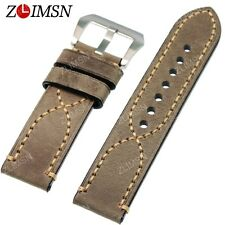 26mm Gray Watch Band Strap THICK Genuine Leather Belt Stainless Steel Buckle