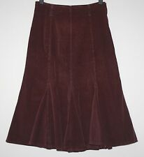 *PER UNA* LONG BURGUNDY SOFT CORD STRETCH GODET SKIRT SIZE 16R