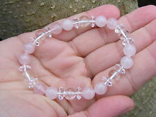 Quartz & Rose Quartz Gemstone Crystal Bead Bracelet A Grade 8mm & 6mm Beads