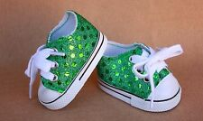 Doll Shoes fitting 18 in & American Girl Dolls Green Glittering Tennis Shoes NEW
