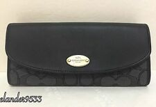 New COACH F53538 Outline Signature Slim Envelope Wallet Black Smoke