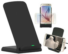BLACK 3-COIL WIRELESS CHARGER STAND DESKTOP CHARGING STATION PAD FOR CELL PHONE