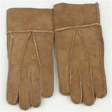Hot sell Men's Winter Genuine Brown Sheepskin Leather Shearling Fur Warm Gloves